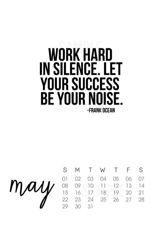 Printable May 2016 Calendar with inspirational quote by ...