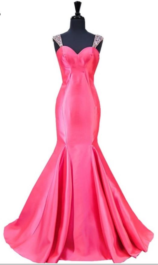 Long night dress mermaid, crystal flooring length, no-back hot pink ...