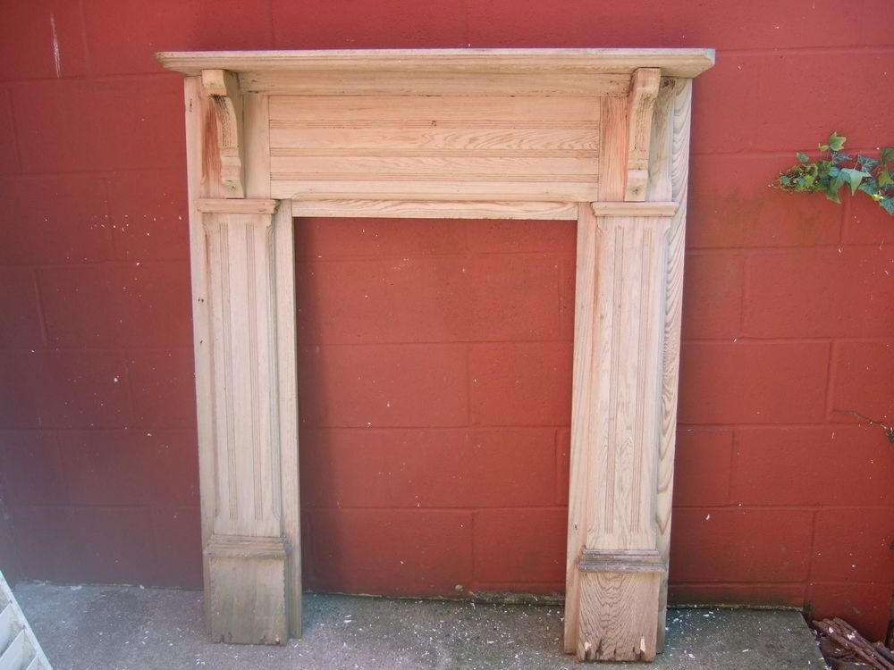 1907 Antique Wood Fireplace Mantel Stripped 50 X 42