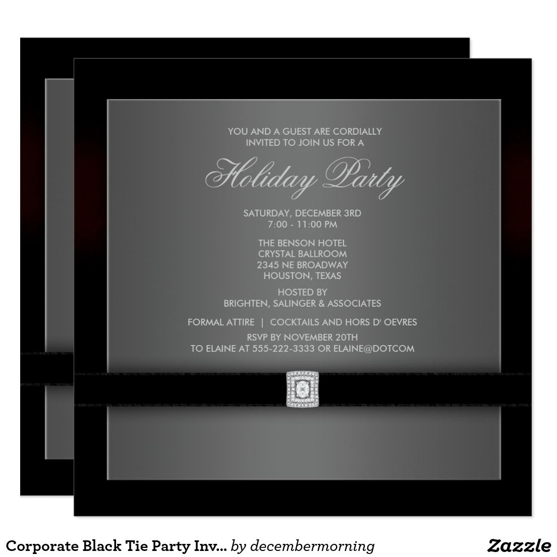 Corporate Black Tie Party Invitation Template | Christmas Party ...