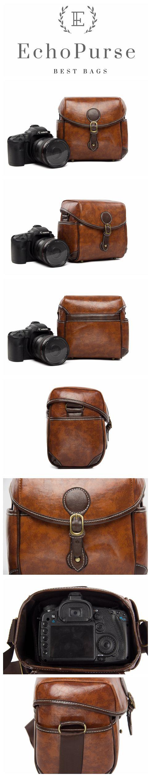 PU Leather DSLR Camera Purse, Vintage Brown SLR Camera Case 288 #camerapurse
