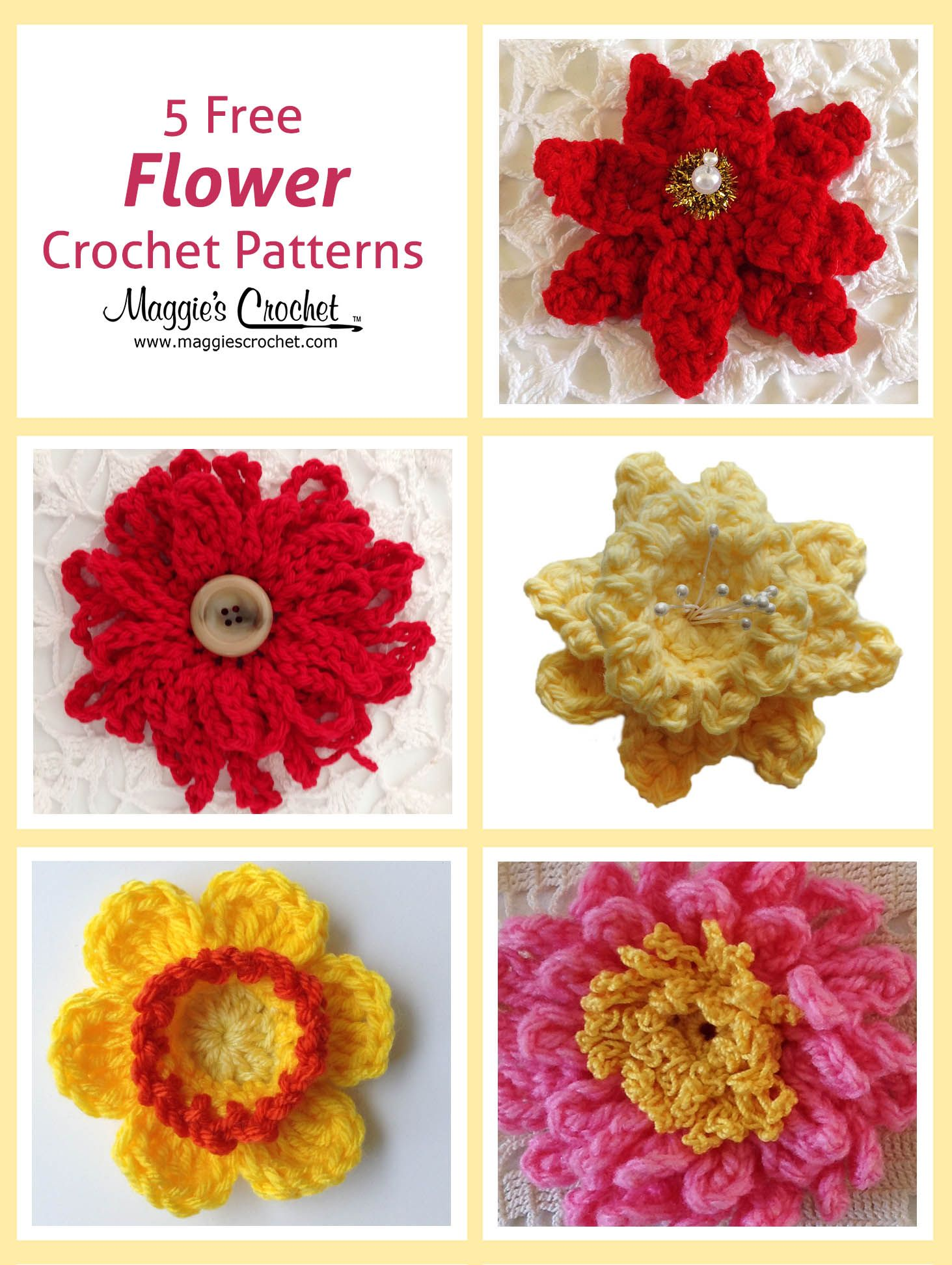 This Week We Are Pleased To Offer Five Free Flower Patterns Follow