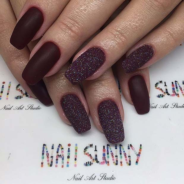 21 Glamorous NYE Nail Ideas | Burgundy nail designs, Nye and Manicure