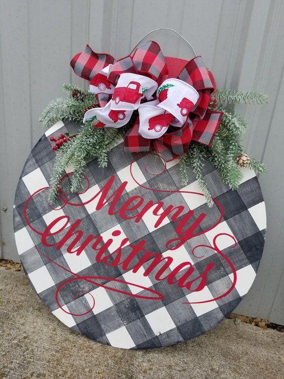 Personalized Christmas Ornament Door Hanger - Buffalo Plaid Door