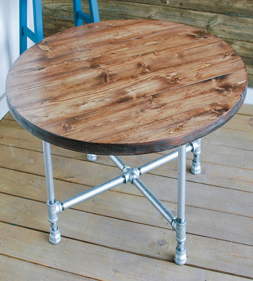 Reclaimed wood round coffee table with pipe legs pipes woods reclaimed wood round coffee table with pipe legs geotapseo Images