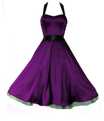 Purple satin 50\'s style halterneck rockabilly dress ...