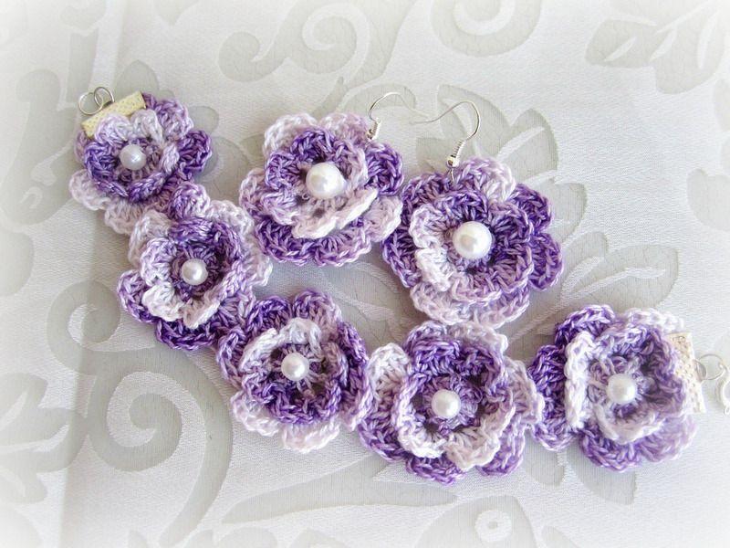 Häkeln Blumen Armband Und Ohrring Von Crochetitaly Auf Dawandacom