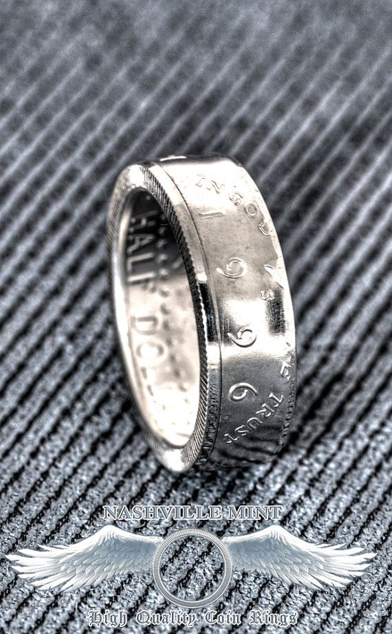 Coin Ring 1996 Silver Proof Half Dollar Coinring Jfk Kennedy Us