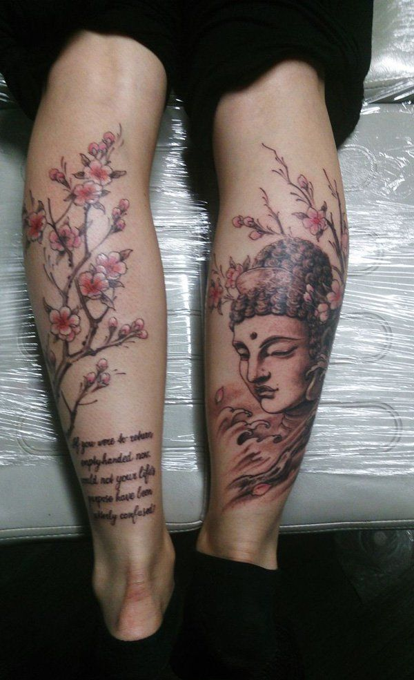 60 inspirational buddha tattoo ideas cherry blossoms buddha and buddha and lotus tattoo can symbolize purity apart from the message the effect makes your buddha look realistic buddhism is one of the most common and mightylinksfo