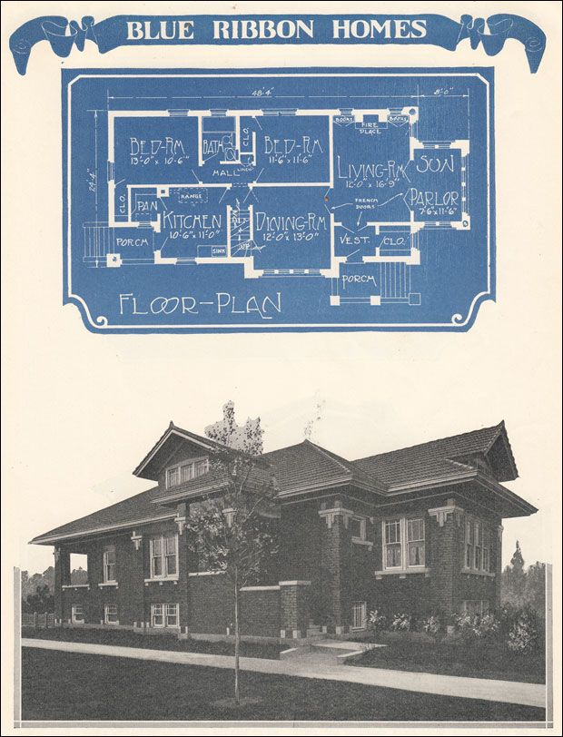 The Chicago-style bungalow of the early 20th century was offered by Radford through the 1920s. During the 1920s especially, Radford had a distinctive style that is clearly depicted in Design 11364. The key identifiers include the use of brick, decorative stone or concrete work, and a narrow footprint, and a roofline perpendicular to the street, which fit neatly on relatively tight city lots. Given the room, this tile-roofed, two-bedroom plan could be placed parallel or perpendicular to the…