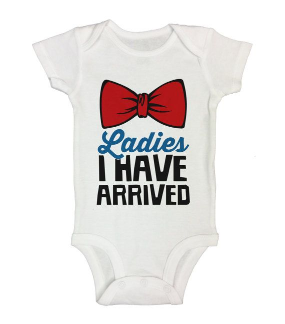 "Cute Newborn Baby Boy Onesie "" Ladies I Have Arrived "" - Bowtie Collection - Funny Clothing - Gift For Baby - Newborn - Sleeve Option - 85"