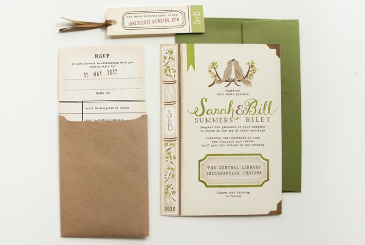 Adorable bookthemed wedding invitations from Quill Fox 3 from