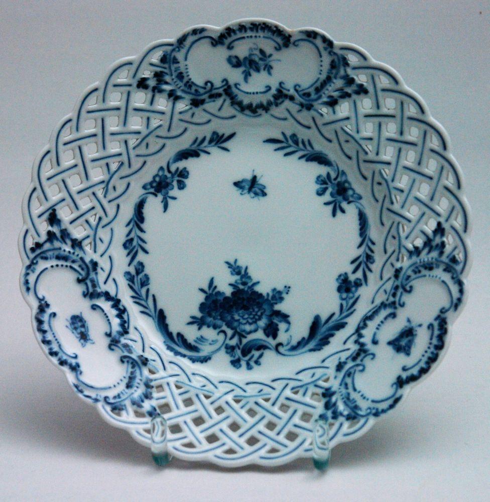 Meissen Keramik: Meissen Durchbruchteller Blaumalerei Blumenbukett Mit