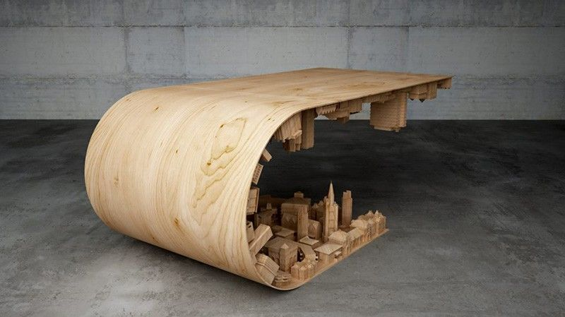 Elegant Using Wood, Steel And 3D Printing Technology This Cityscape Was Bent Into  This Coffee Table