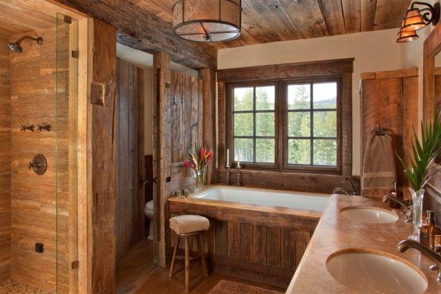 Rustikale badezimmer ~ Ländlich anmutendes bad rustikales interieur wandgestaltung mit