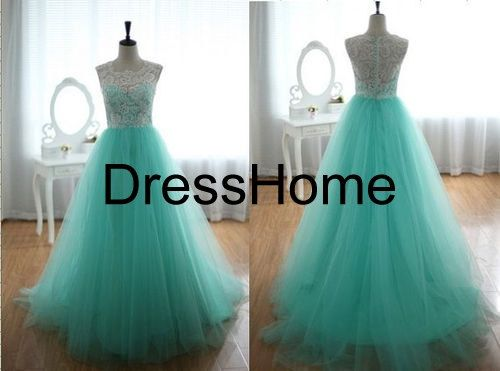 Long Prom Dress / Cheap Lace prom Dress With Tulle / door DressHome