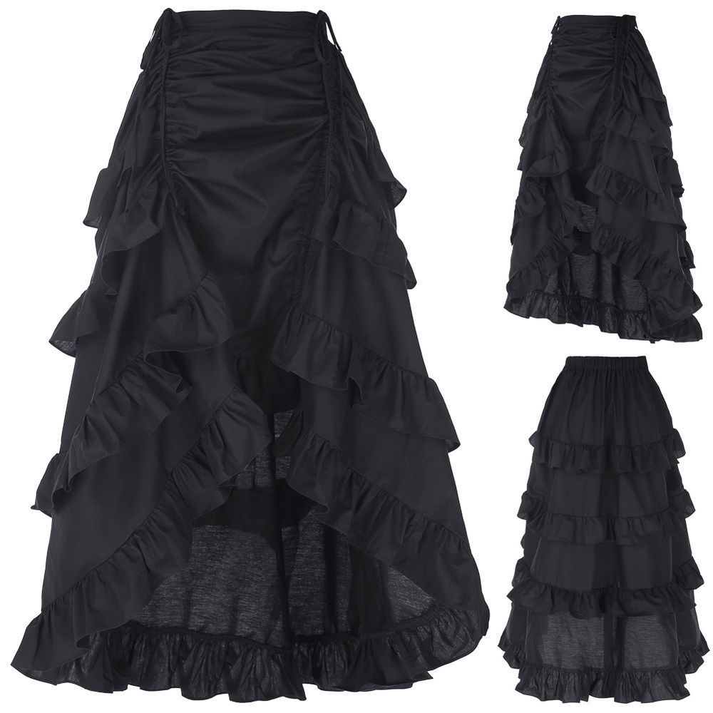 ec98cd8f823a8 ... Size Black Women Nwt Floral Blue. Vintage Gothic Victorian Ruffle  Bustle Skirt Lady Steam Punk Retro Gothic Dress  BellePoque  ALine