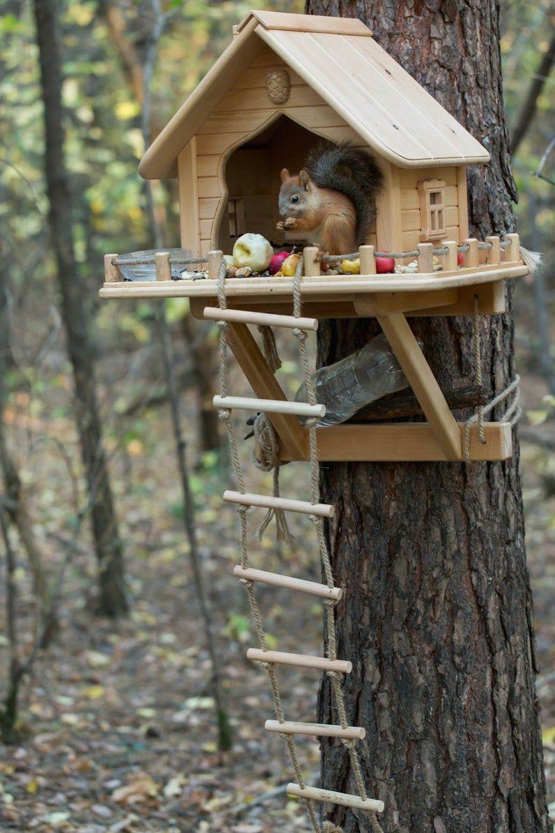 Wooden Squirrel Feeder Personalized Squirrel House Squirrel Home Handmade Squirrel Feeder Garden Decore Funny Squirrel Feeder