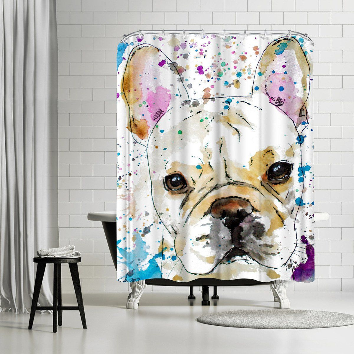 French Bulldog By Allison Gray Shower Curtain Gray Shower Curtains Allison Grey Grey French Bulldog