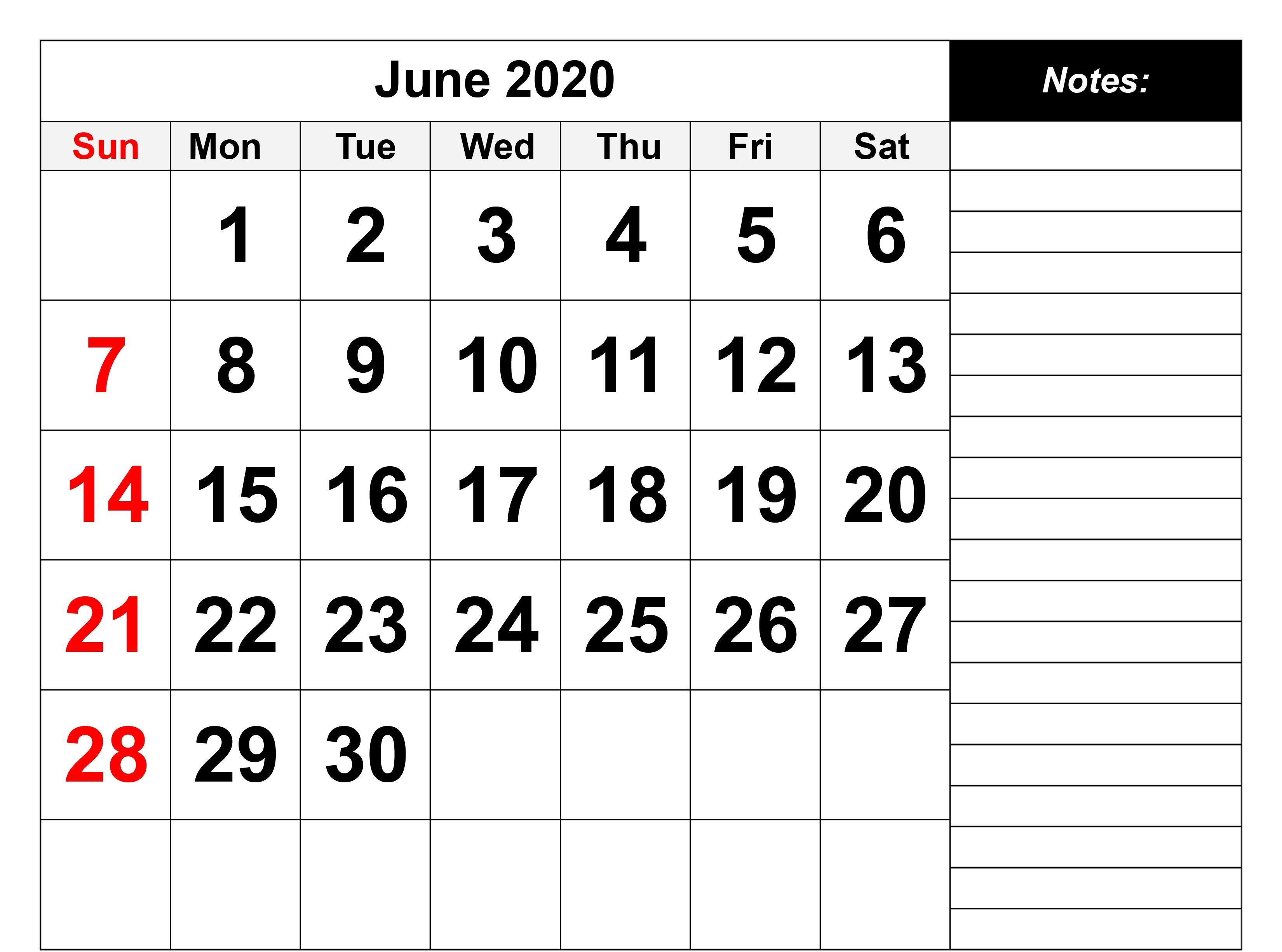 June Calendar Blank In