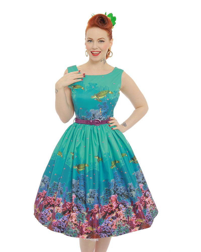 d8400b50d231 Annie' Turquoise Coral Reef Print Swing Dress   Burlesque, Vintage ...