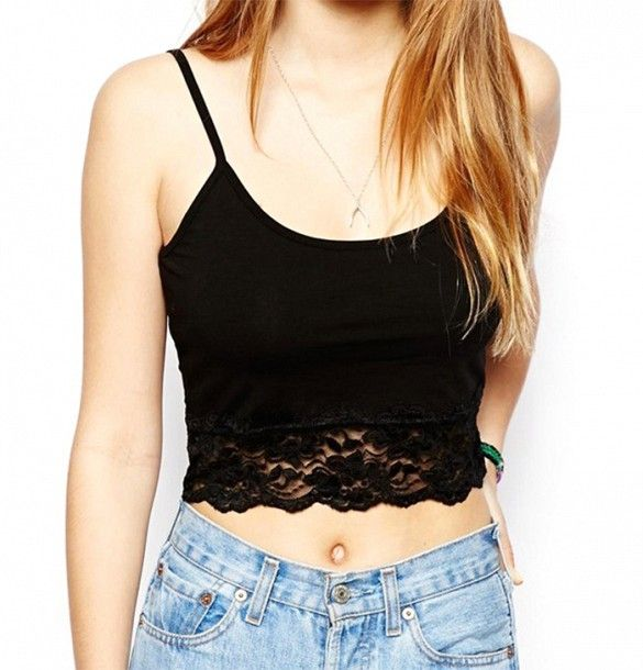 Crop Top With Lace Trim, when worn with midi skirt