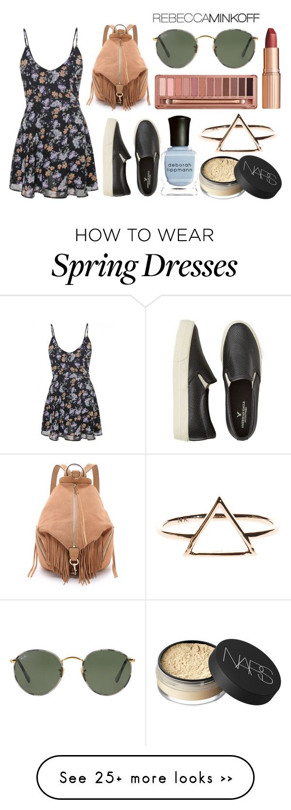"""Style Rebecca Minkoff's Spring 2016 Collection Now"" by fabubilous on Polyvore featuring American Eagle Outfitters, Deborah Lippmann, NARS Cosmetics, Ray-Ban, Charlotte Tilbury, Urban Decay and Rebecca Minkoff"