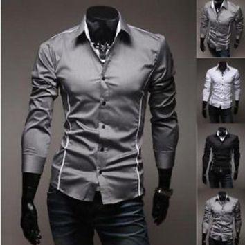 d27d5c93350 Jeansian Mens Design Casual Dress Shirt Slim Fit Style US XS S M L XL XXL  8384