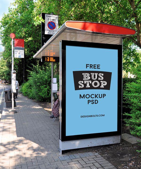 free outdoor advertisment free bus shelter mockup psd file mockups