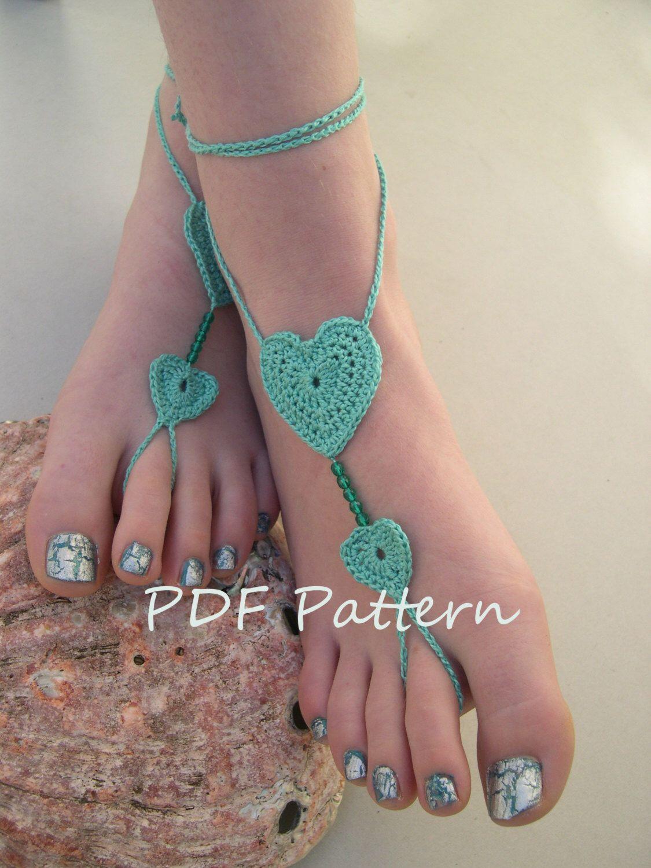 Beach wedding foot jewelry  Barefoot sandals crochet pattern  Crochet Barefoot sandals pdf