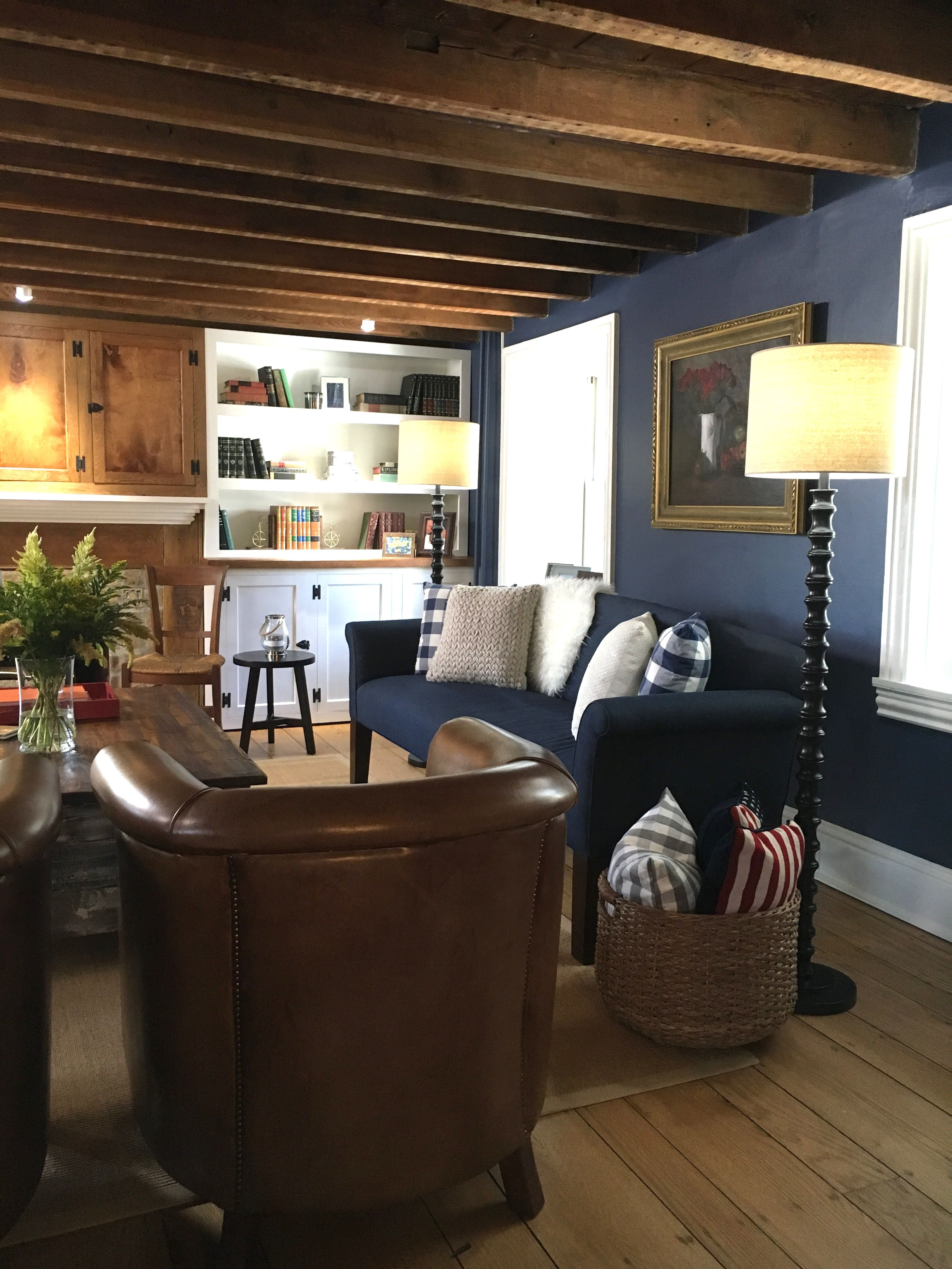 Newburyport Blue Accent Wall Custom Built Ins Stone House Revival