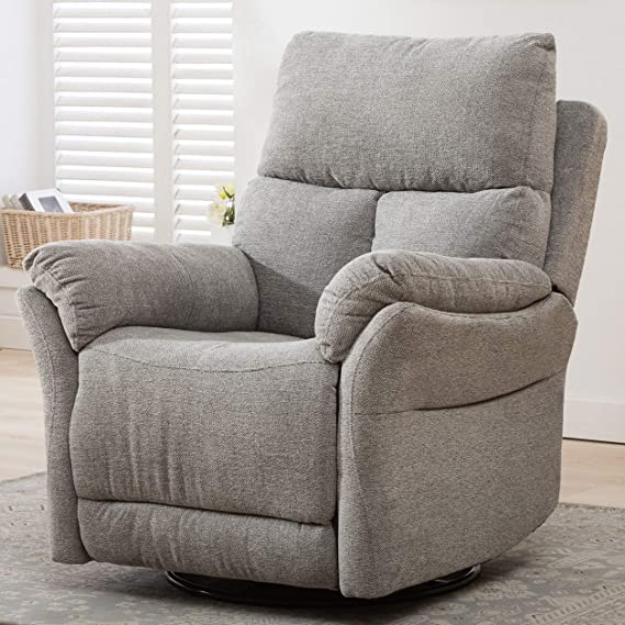 ANJ Swivel Rocker Fabric Recliner Chair