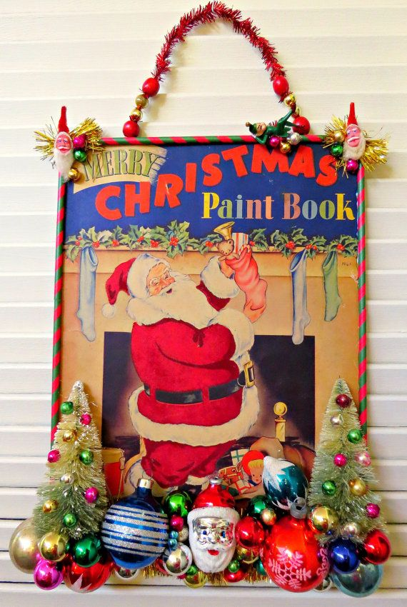 Vintage CUTE BIG Coloring Book Cover Christmas Wall Decoration