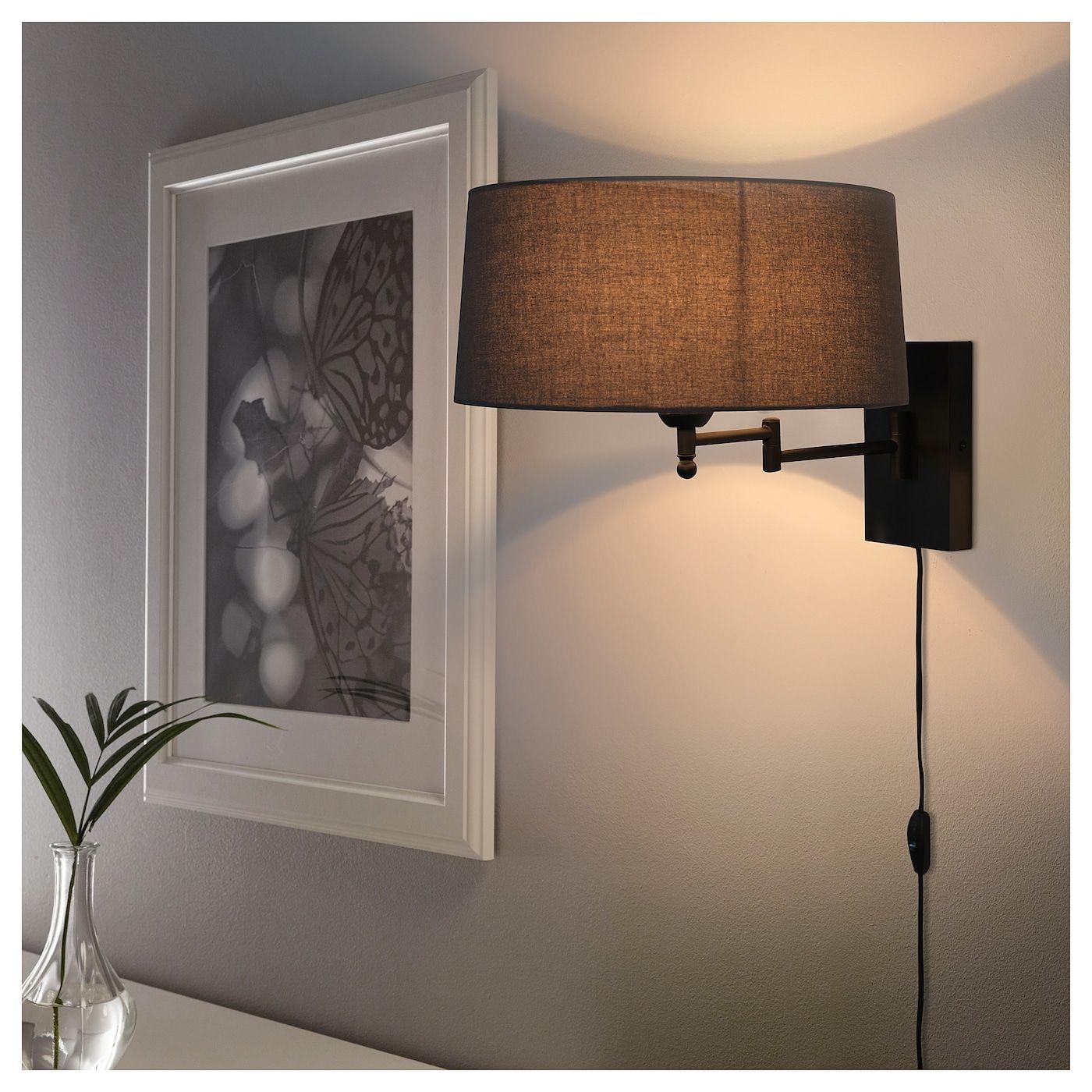 Halkip Wall Lamp With Swing Arm Gray Ikea Wall Lights Bedroom Wall Lamps Bedroom Wall Mounted Lights Bedroom