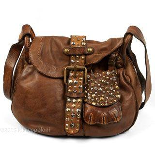 0901840ebfe0 PORRO - Studded Leather Saddle Bag with Removable Pocket