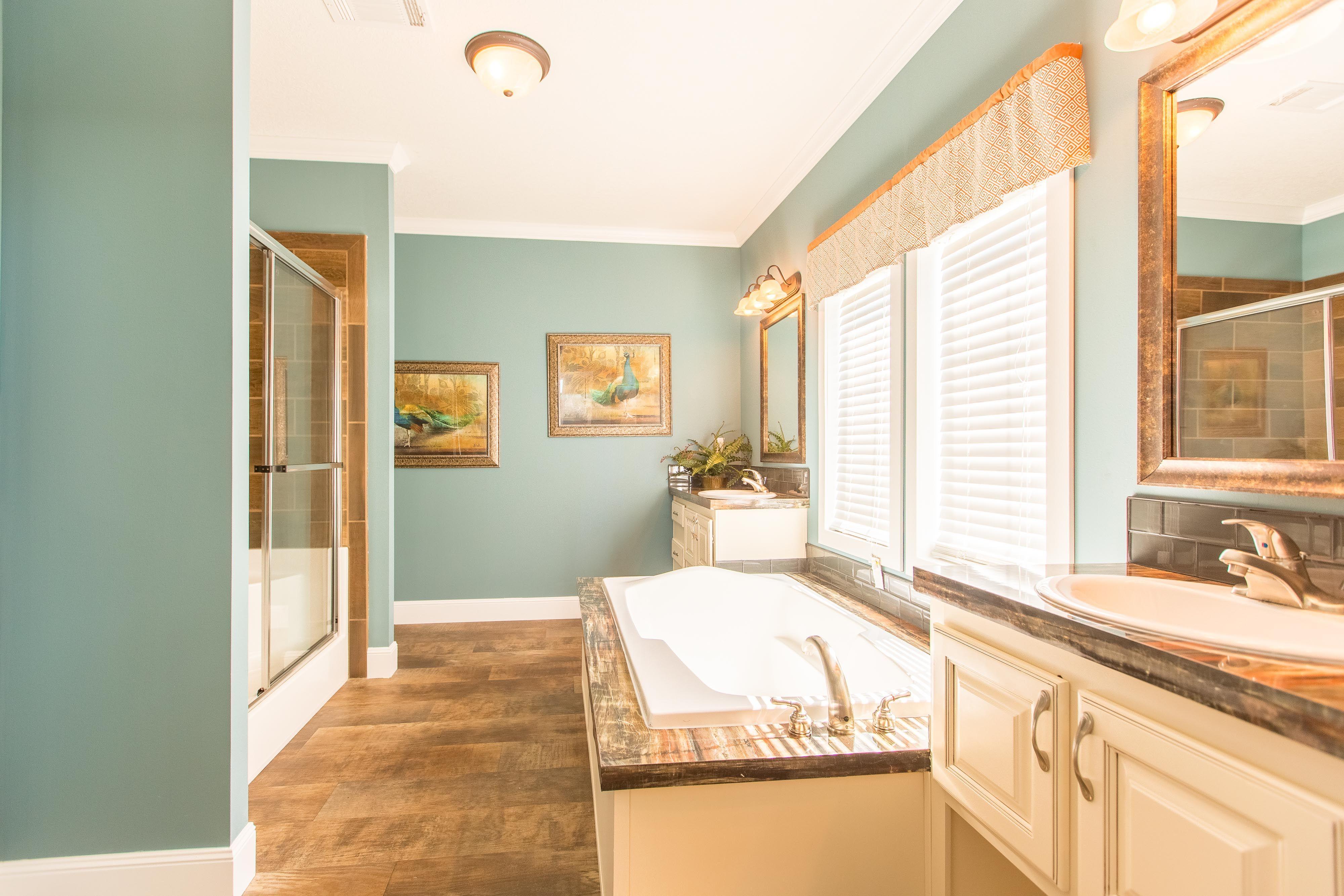 Master bath His & Her vanity Tile shower