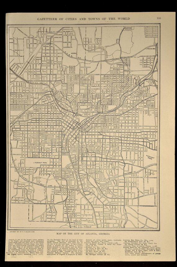 Atlanta Map Of Atlanta Street Map Wall Art Decor Antique Etsy Map Wall Art Decor Street Map Atlanta Map
