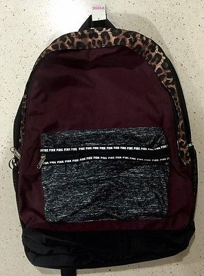 c737e575e57b VICTORIAS SECRET PINK CAMPUS BACKPACK RUBY MAROON ANIMAL PRINT BOOKBAG NEW!