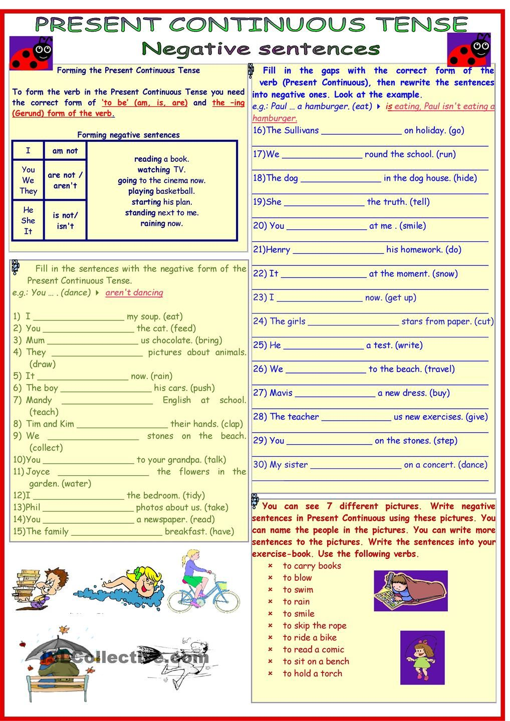 Present Continuous Tense 3 Pages 9 Tasks With Key Present Continuous Tense English Grammar Worksheets Continuity