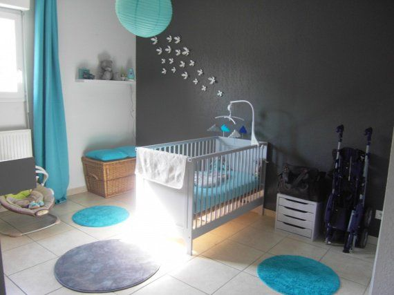 Chambre bebe turquoise gris blanc deco enfants baby - Deco chambre bebe turquoise ...