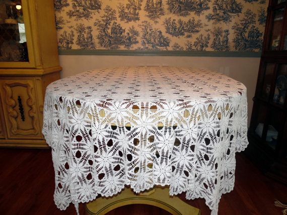 Vintage White Lace Wedding Tablecloth Lace by BridenetVintageLinen