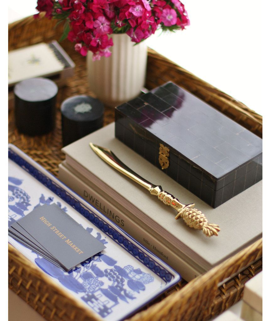 Letterpress Tray Coffee Table: Beautiful Tray Vignette -- Love The Brass PIneapple Letter