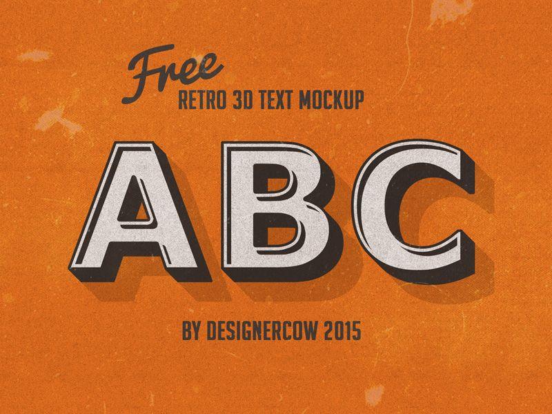 Free Psd Retro 3d Text Mockup Retro Text Free Photoshop Mockup Free Psd