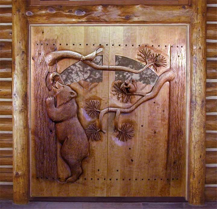 Carved by ramsey wood doors wildlife carving a