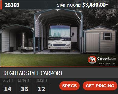 Regular Style Carport 14 X 36 X 12 Carport Carport Covers Roof Panels