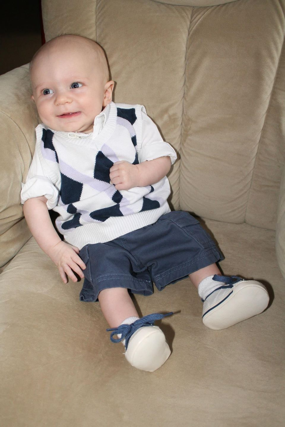 Chase's first Easter - sweater vest, Gap oxford and shoes, and ...