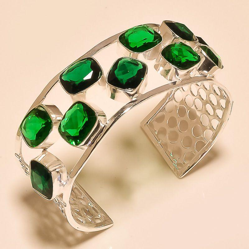 FACETED GREEN TOURMALINE ROYAL LOOK - 925 SILVER BANGLE AS- 5919 #Handmade #Bangle