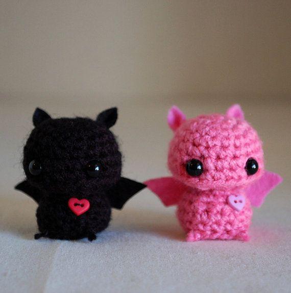 RESERVED Listing - 2 Mini Bat Amigurumi Pink and Black | to crochet