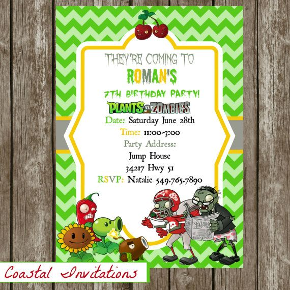 Hey i found this really awesome etsy listing at httpsetsy zombies birthday party invitation personalized digital file or prints bookmarktalkfo Images