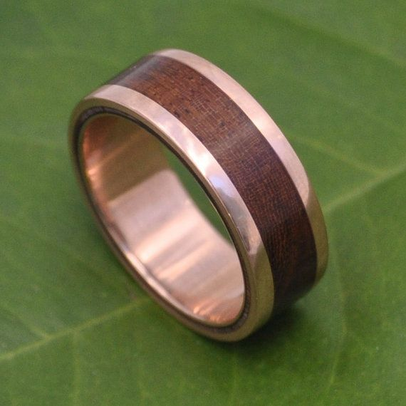Rose Gold Lados Nacascolo Wood Ring Ecofriendly Wood Wedding Band